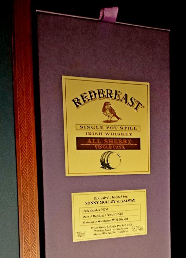 Sonny Molloy's Redbreast 16 yeaor Old Single Cask Single Pot Still